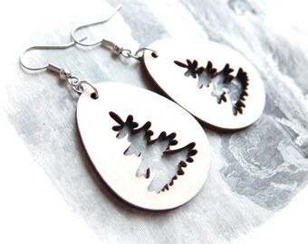 Evergreen Tree Wood Dangle Earrings
