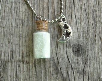 Glow in the Dark Magic Moon & Star Dust Vial Necklace Cork Glass Bottle Glitter