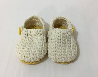 Crochet Baby Booties Neutral Yellow Loafers with Button
