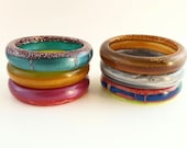 Resin Bangle - Handmade Thin Round Gloss Bracelet - Samples and Seconds - Statement Bangle - Stacking Bangles - Small Size - Girls Jewellery