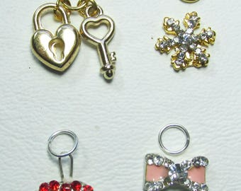 Nail Dangles; Heart and Key, Snowflake, Lips and Bow all very small 4A