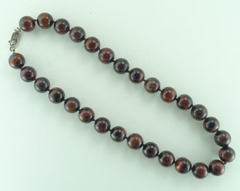 Red Tigereye Tiger Eye Stone Natural Gemstone Sterling Silver Necklace Large Bead