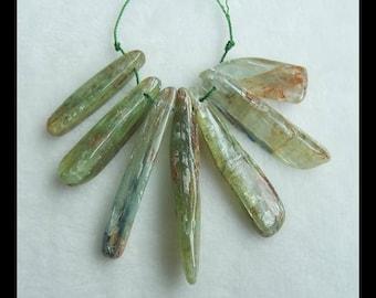 7 PCS Green Kyanite Gemstone Pendant Bead Set,53x7x9mm,30x11x6mm,41.1g(e0462)