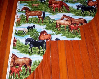 Cotton Fabric HORSES by TIMELESS TREASURES Fabric -  Irregular Remnant