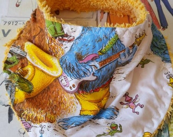 Super kitsch handmade retro recycled bandana bib  groovy 70s Sesame street characters oscar the grouch tweedle bugs