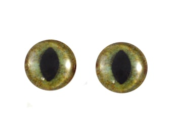 16mm Green and Brown Cat Glass Eyes - Round Animal Eyes - Pair of Glass Eyes for Doll, Sculpture, Taxidermy or Jewelry Making - Set of 2