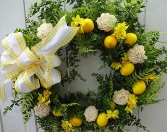 Lemon Wreath   Easter Wreath  Spring and Summer Wreath  Elegant Wreath  Front Door Wreath  Mother's Day Gift