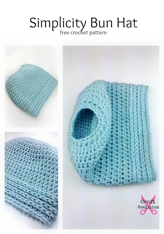 Simplicity Bun Hat crochet pattern ponytail hat messy bun hat - PDF