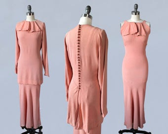 RESERVED 1930s Dress / 30s Pink Crepe Two Piece Gown / Jacket / Blouse Set