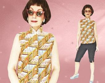 50s Casual Blouse, Sleeveless Blouse, Vintage Cotton Shirt for Women, Exotic Print, Rockabilly Summer, Convertible Collar, Mandarin Collar