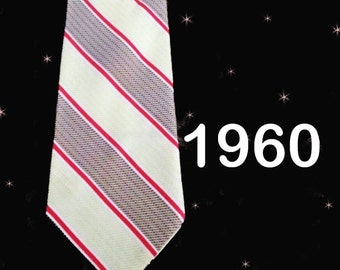 Wide Vintage Necktie - Early 60s Wide Tie - Ivory Red Taupe - Vintage Tie with Stripes - Retro Neck Tie - 1960s Striped Necktie Gift for Him