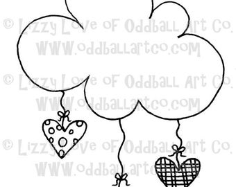 Digi Stamp Digital Instant Download Kawaii Cloud & Hearts IMG No. 27 by Lizzy Love