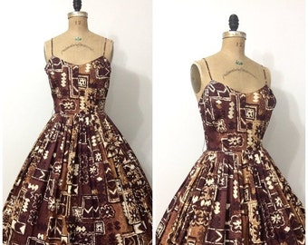 SALE 1950s Alfred Shaheen Dress 50s Hawaiian Tiki Sundress
