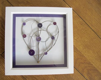 Framed Heart Decoration / Guitar Heartstring / Wire Heart / Wall Art / Upcycled Art / Ecoart / Anniversary / Wedding / Musician Gift
