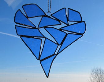 Stained Glass Heart / Stained Glass Panel / Suncatcher / Unique Stained Glass /  Wedding / Anniversary / Housewarming / Home Decor / colour