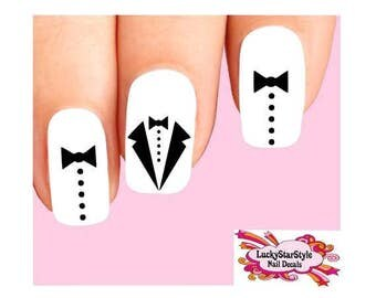Waterslide Nail Decals Set of 20 - Black Tux Tuxedo Bow Tie Assorted