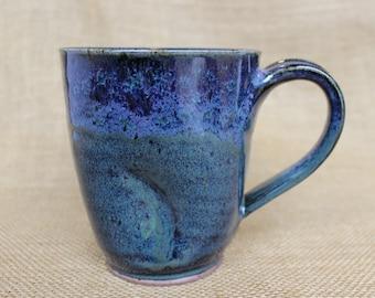 Unique dented stoneware ceramic pottery coffee mug, ready to ship