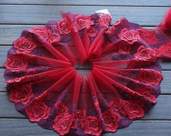 2 Yards Lace Trim Red Rose Floral Embroidered Scalloped Tulle Lace 6.29 Inches Wide High Quality