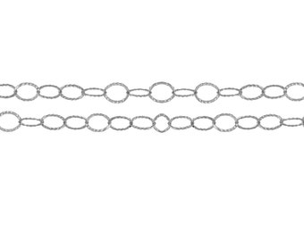 Sterling Silver 4x3.1mm Flat Corrugated Cable Chain - 20ft (2491-20)/1