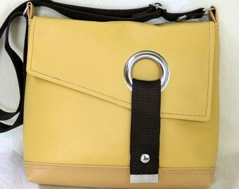 Stella Crossbody messenger bag, courier bag, commuter bag in Dark and LIght Mustard Yellow