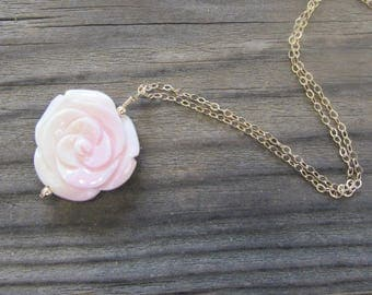 Pink Conch Shell Rose Flower Pendant Necklace in Sterling Silver or Gold Fill