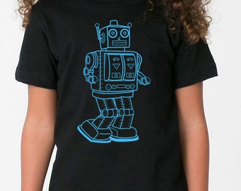 kids vintage robot on boys childrens t shirt- american apparel navy,  2, 4, 6, 8, 10, 12 year old sizes -WorldWide Shipping