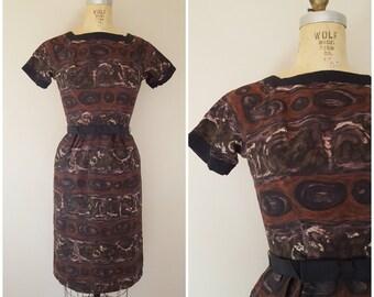 Vintage 1950s L'Aiglon Wiggle Dress / Brown Abstract Print / Cotton Dress / XS
