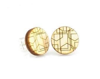 Geometric Line Studs -  Laser Cut Earrings from Reforested Wood