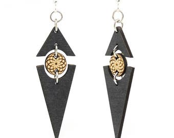 Twilight Triangle Earrings - Laser Cut Wood - Super light weight Earrings