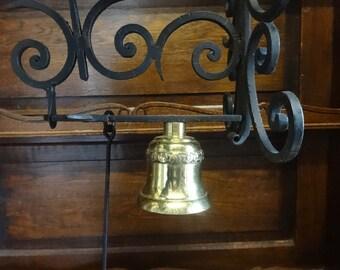 Vintage French Black Cast Iron Brass Bell Door Dinner Alarm Bell Knocker Ringing Outside Garden Doorbell circa 1980-90's / English Shop