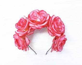 Coral Pink Rose Flower Crown, Pink Rose Headband, Pink Flower Crown, Coral, Pink, Flower Crown, Floral Crown, Boho, Coachella California