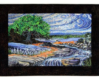 Art Quilt Wall Decor - Vincent van Gogh Style Wall Hanging  Landscape Waterfall Cottage Decor  Quilted Office Decor  Blue Green Mixed Media