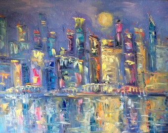 Painting of City nights abstract original art large painting sale
