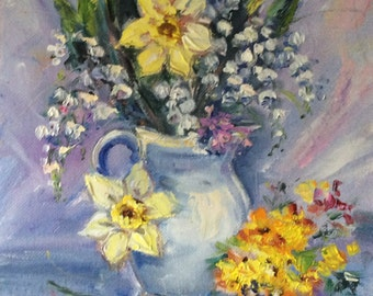 """Daffodils and Lilly of the valley flowers original floral painting oil on canvas 8 x 10"""""""