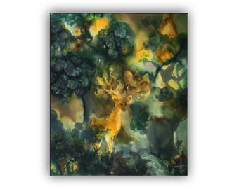 Golden Deer in deep green forest, fantasy landscape, old trees, mixed painting, stag, fairy tale, dream, legend, Bulgarian art, Bistra Sirin