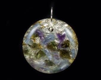 Moldavite Orgonite® Pendant. Arkansas Crystals, Kyanite, Amethyst, Phenacite, Elite Shungite, Petalite, Rhodizite, Tourmaline, Selenite (c35