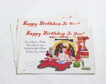 4 Vintage Risque Birthday Unused Blank Postcards - Pin up postcards