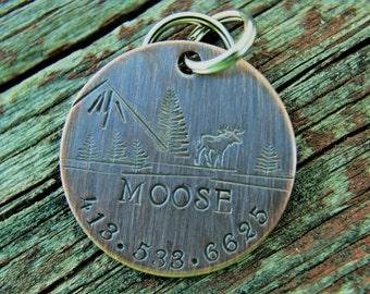 Dog ID Tag-Moose Custom Pet Tag- Tag for  Medium Large Dog-Personalized Dog ID Tag-Pet Tag-Dog Tag-Tag for puppy
