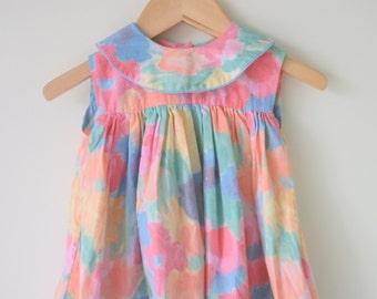 1980s COLORFUL Flower Girl Dress...size 2 3 girls...kids. children. mid century. kitsch. 1980s dress. girls. retro. mod. flower girl. bright