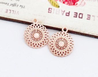 2 of 925 Sterling Silver Rose Gold Vermeil Style Sun Charms 13mm. :pg0269