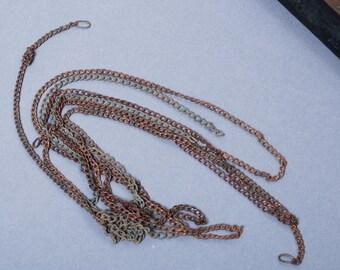 Set of 3 pieces of Antique brass chain original dark  patina