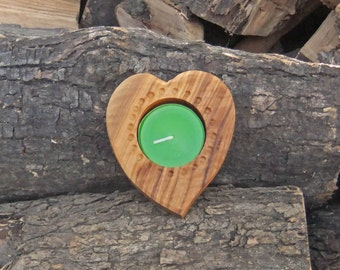 Heart shaped Olive wood candle holder, hand made