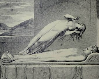 Soul Hovering Over the Body by William Blake, The Grave, Vintage 11x14 Engraving, FREE SHIPPING