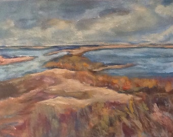 """Storm Abrewing 24""""x18"""" An original acrylic seascape painting"""