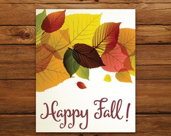 DIGITAL Fall Printable Wall Art - Happy Fall! Typography Thanksgiving Home Decor - INSTANT DOWNLOAD Autumn Decoration
