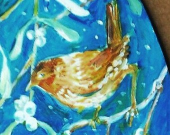 "Sale ""Little Wren""  ,Qriginal hand painted Acrylic art , heart shape ,  unique decoration"