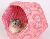 Spring Sale Pink bubble kitty cave bed - The Cat Ball bed in flowers and polka dots