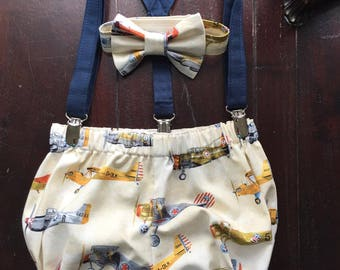 Vintage Airplane Smash Cake Outfit, Birthday Boy Outfit,  Bowtie, Suspenders, and Diaper Cover