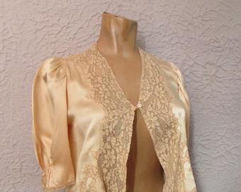 1930's Vintage Silk Satin & Lace top lingerie blouse
