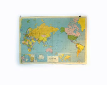 Vintage 1970s original large Pacific Centred World map, folding vintage world map